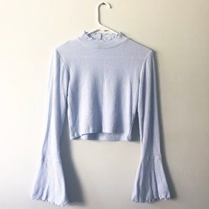 Baby blue, cropped, long sleeve